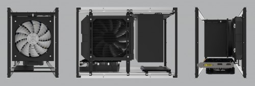 Example 3 - Whilst the case was optimised for SFX, it can even accommodate an ATX PSU together with a mid size GPU (up to 225mm in length), 140mm radiator and 1x 2.5 drive.