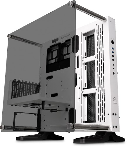 Now available in a classy white chassis with a tempered glass side panel