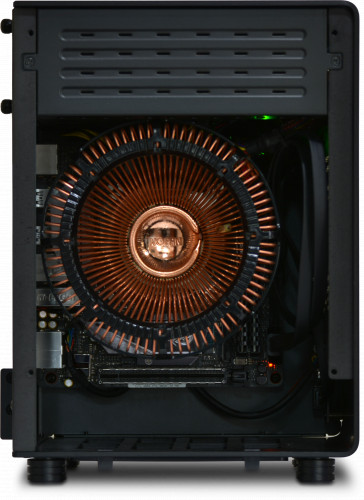 Internal and rear view of the NanoQube Plus with ASUS motherboard