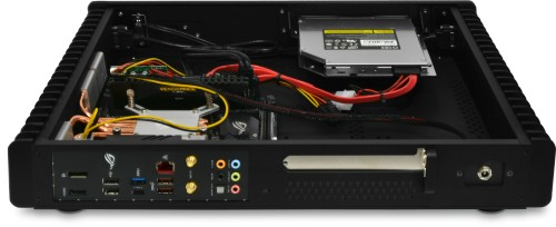 Rear and internal view of the optical version Sidewinder (B360 motherboard and top panel removed)